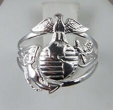 OFFICIAL MARINE CORPS LICENCE .925 STERLING SWEET HEART RING SIZE 7