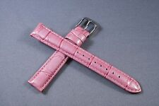 16mm Hot Pink Genuine Leather Watch Band,Strap, Interchangeable, Quick Release