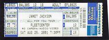 2001 Janet Jackson unbenutzt voll Konzert Ticket Alles für Sie Tour Boston MA