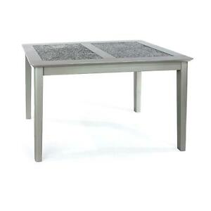 Grey Painted Stone Topped Modern 1.2m Wooden Dining Table Sits Minimum 4