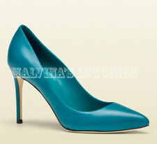 VIBRANT GUCCI SHOES BLUE TEAL LEATHER POINTED TOE PUMP sz 39 / 9