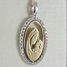 PENDANT MEDAL OVAL YELLOW GOLD WHITE 750 18K Virgo Mary jane and Jesus ZIRCON