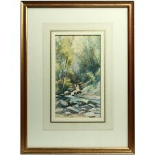 Framed Original 1917 Antique Watercolour Painting Chudleigh Glen Dartmoor Devon