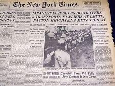 1944 NOV 11 NEW YORK TIMES - JAPANESE LOSE DESTROYERS PATTON-METZ - NT 824
