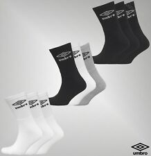 3 Pack Mens Umbro Comfort Sports Knitted Logo Crew Socks Sizes UK from 6 to 11