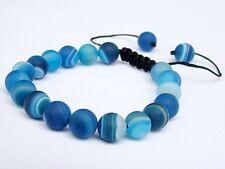Men's Blue Shamballa bracelet all 10mm Natural Agate Beads frosted matt