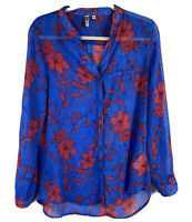 Kut from the Kloth Top Women's Blue Long Tab Sleeve Floral Sheer Blouse Size M