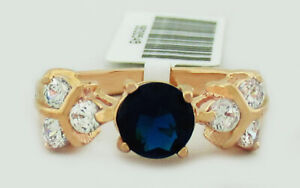 BLUE 1.16 Cts & WHITE SAPPHIRES RING 14K ROSE GOLD PLATED NWT SIze 5