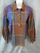 Vintage 60's Terry Chicago Pull Over Plaid Blouse Size 14