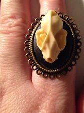 Bat Faux Taxidermy Resin Skull Bronze Ring Macabre Steampunk