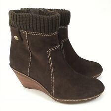 CLARKS Softwear Size UK 5.5 Brown Suede Ankle Boots Wedge Booties