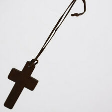 Retro Fashion Elegant Religious Wooden Cross Pendant Necklace Wood Sweater Chain