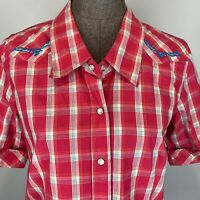 Bit Bridle Western Shirt S Pink Plaid Pearl Snap Front Short Sleeve Embroidered
