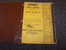 1962-1968 Kenworth W900 Model Truck Factory Original Parts Catalog Manual