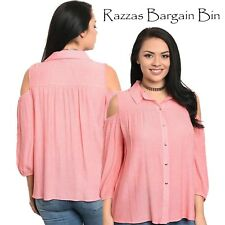 New Ladies Coral Button Up Shirt With Open Shoulders Plus Size 16/2XL (1148)PB
