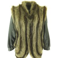 Vintage 80s Raccoon Vest Convertible Jacket L Brown Removable Sleeves Leather