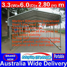 Single STEEL Carport, Shelter 3.3x6M, Yard, Backyard shelters, Portable Carports