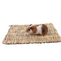 Innovative Pet Rabbit Grass Mat Guinea Pig Woven Straw Cage Pad Bedding Chew Toy