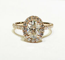 2.60 Ct. Oval Cut Pave Halo Diamond Engagement Ring - GIA CERTIFIED & APPRAISED
