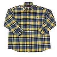 Twenty X Wrangler Mens Size XXL 2XL Yellow & Blue Long Sleeve Western Shirt