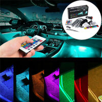 4*9 LED RGB Voiture Lampe Bande Intérieur Atmosphère Éclairage Lumière + Remote