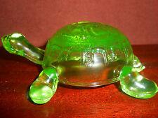 Green Vaseline glass Turtle firgurine uranium yellow art sea / glows canary Mint