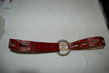 New Dark Red Leather DONALD J PLINER Belt w/Openwork & Silver Studs Large