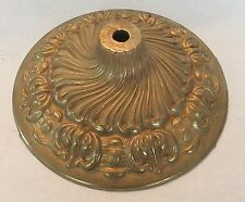 "6 1/4"" SOLID CAST BRASS ORNATE FANCY CEILING CANOPY OR VASE CAP UNFINISHED"