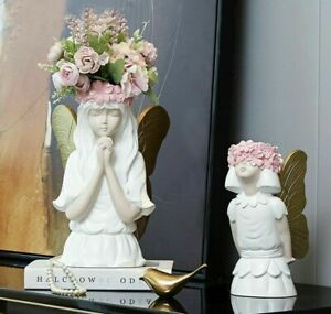 Cute Angel Girl Flower Vase Resin Figurine Statue Craft Flowers Pot Home Decor