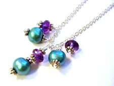 Fancy 925 Sterling Silver Faceted AAA Quality Amethyst & Pearl Necklace F1