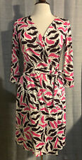 Womens DIANE VON FURSTENBERG DVF Pink Brown Print Silk Wrap Dress ~ Size 8 (A37)