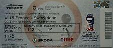 TICKET Hockey su ghiaccio WM 3.5.2015 Francia-Svizzera a Praga
