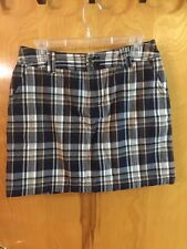 Womens St. Johns Bay Stretch Skort Black,Brown, Tan & White Plaid Size 10 EUC