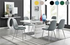 Renato Modern White High Gloss Extending Dining Table Set and 6 Chairs