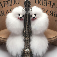 Hot 1Pc White Cute Faux Fox Fur Handbag Key Chain Cell Phone Car Charms Pendants