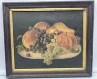 Antique Old Fruit Still Life Chromolithograph Print Framed Victorian Lithograph