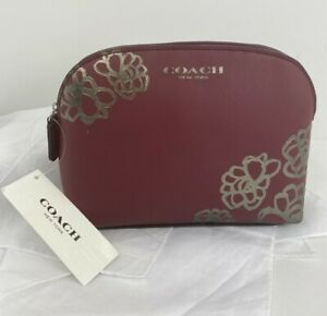 New Coach Cosmetic Bag Silver Floral Etched Promotional Item Red Zip M7