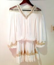 Women's  Golden Threads Embodied Lace Doll Skirt Dress-Size XS/S/M- White