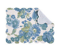 LAUREL Quilted Reversible Placemat by C&F - Green, Blue Flowers on White