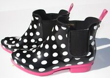 Kate Spade rain boots Size 5.5, 6 ankle black pink gold rubber shoes Spring New