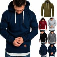 Mens Fleece Plain Hoodie Sweatshirt Hooded Pullover Casual Gym Adult Top Outwear