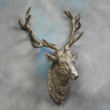 Argent Grand Stags Buste , tête de Cerf Antique Support mural