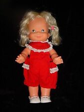 """13""""-Vtg-1970s-1978 Ideal Whoopsie Doll-blonde pig tails move up down-squeaks"""