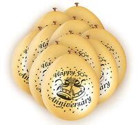 10 X Joyeux 50th ANNIVERSAIRE BALLONS NOCES D' Or Décoration de fête