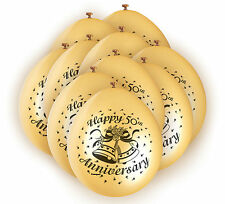 10 x Happy 50th Anniversary Balloons Golden Wedding Party Decorations FREE P&P