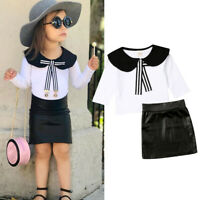 2PCS Toddler Kids Baby Girl Long Sleeve Tops Shirt+Leather Hip Skirts Dress Set