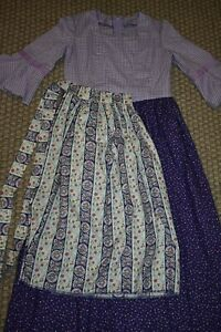 Girls Colonial Villager Prairie Pioneer Calico Dress Costume Purple Sz 14/16