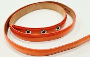 WILLOW By Kit Willow Orange Patent Leather Press Stud Skinny Belt