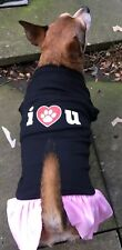 Mirage Pet Products I Heart You Black Dresses with Pink Frill XL Best Price UK