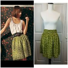 $148 Anthropologie Corey Lynn Calter Silk Polka Dot Skirt w Pockets -Size Small